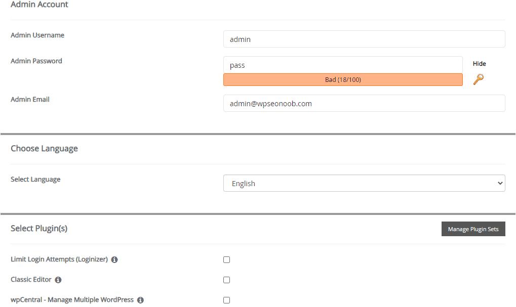 Admin Option WordPress Script