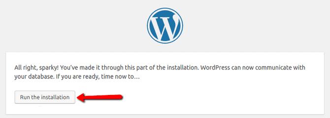 Final Step WordPress installation